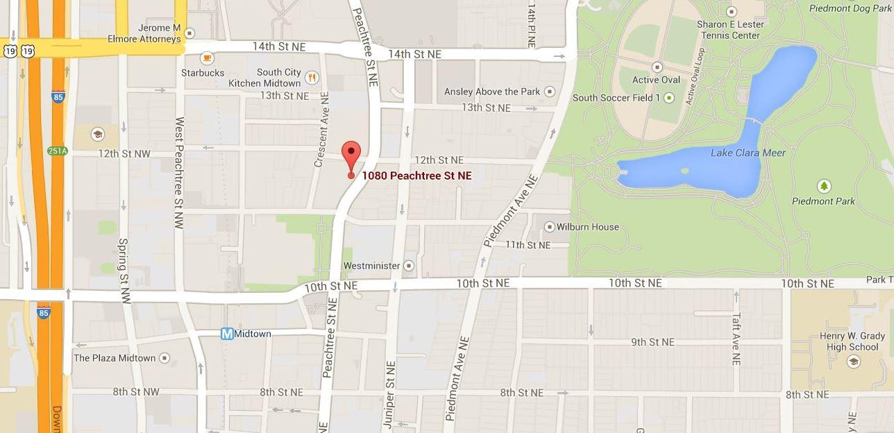 Atlanta Map Location 1010 Midtown